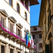 Italy. Florence. Narrow small street with ancient historical houses — Stock Photo