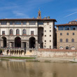 Italy. Florence. Ancient houses on Arno River Embankment - Stock Photo