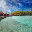 Island in ocean, overwater villas — Stock Photo #19132883