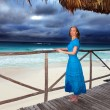 The woman in a long blue dress on the  stormy sea coast - Photo
