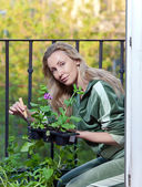 The young woman lands seedling on a balcony — Stock Photo
