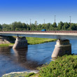 The bridge through the Luga River at Kingisepp, the Leningrad region, Russi — Stock Photo