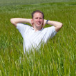 The happy young man in the field of green ear — Stock Photo