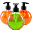 Bright color cosmetic small bottles with the dispenser — Stock Photo #23008918