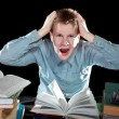 The pupil is angry about a large number of lessons — Foto de Stock