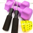 Dumbbells in a neoprene cover — Stock Photo