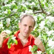 The attractive man at a blossoming apple tree — Stock Photo