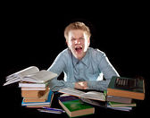 The pupil is angry about a large number of lessons — Stock Photo