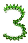 Digits from green beer bottles. Digit 3 — Stock Photo