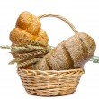 Stock Photo: Basket with bread on white background