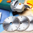 The cutting machine and various detachable disks - Foto Stock