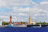 Russia. Petersburg. An arrow of Vasilevsky island and Rostral columns — Stock Photo