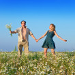 The happy young pair in the field of chamomiles — Stock Photo #24737721