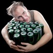 The drunk man and is a lot of empty beer can - Stock Photo