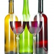 Stock Photo: Bright colorful wine bottles and glass