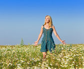 The beautiful happy young woman in the field of chamomile — Stock Photo