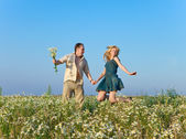 The happy young pair in the field of chamomiles — Stock Photo