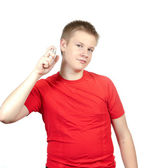 The boy, the teenager spraying fragrance perfume — Stock Photo