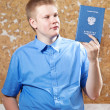 Schoolboy with the certificate about completion of education at school.. — Stock Photo