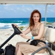 Women by golf car on the seashore. Mexico. Women Island — Stock Photo