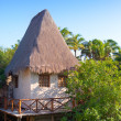 The sea coast with the traditional house in Xcaret park near Cozumel, Mexico — Stock Photo