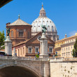 Stock Photo: Rome. View of ancient buildings from under Sant' Angelo Bridge