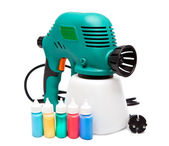 Electrical spray gun for coloration, for color pulverization and small bottles with color — Stock Photo