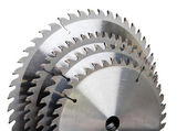Circular saw blade for wood with hard alloy insertions — Stock Photo