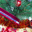 New Year's balls on branches of a Christmas tree and gifts — Stok fotoğraf #29739175