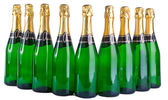 Sparkling wine bottles on a white background — Stock fotografie
