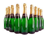 Sparkling wine bottles on a white background — Foto Stock