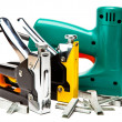 The tool - staplers electrical and manual mechanical - for repair work in the house and on furniture, and brackets — Photo