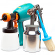 The tool for a painting of surfaces - spray gun electrical and manual mechanical — Stock Photo