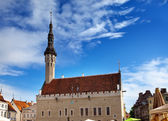 Medieval Town Hall and Town Hall Square of Tallinn, the capital of Estonia. — Stock Photo
