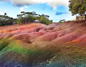 The most famous tourist place of Mauritius - earth of seven colors — Stock Photo