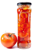 Canned tomatoes in glass jars — 图库照片