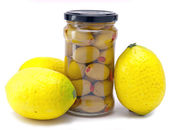 Healthy food - olive and lemons — Zdjęcie stockowe