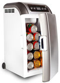 The portable road refrigerator with cans inside — Stock Photo