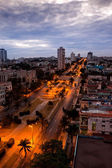 Cuba. Night Havana. The top view on the avenue Presidents — Stock Photo