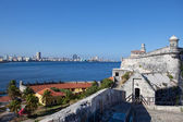 Havana. View of the city through a bay from Morro's fortress. Panoram — Stock Photo