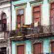 Cuba. Havana. Bright old balconies in the old city — Stock Photo