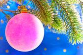 Růžová novoroční koule na větvi vánoční stromeček — Stock fotografie