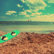 Board for windsurfing on the seashore, with a retro effect — Stock Photo