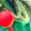 Red New Year's ball on a branch of a Christmas tre — Stock Photo