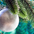 Beautiful silvery New Year's ball on a branch of a Christmas tree — Stock Photo