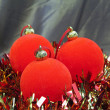New Year's balls and decorative tinsel — Stock Photo