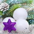 White fluffy New Year's balls — Foto Stock