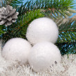 White fluffy New Year's balls — Stock Photo