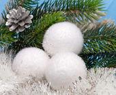White fluffy New Year's balls — Stock Photo
