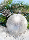 Beautiful silvery New Year's ball — Stock Photo